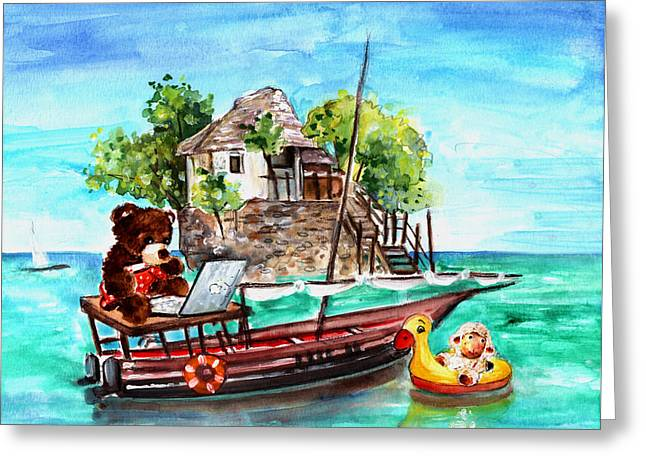 Toy Boat Greeting Cards - Truffle McFurry And Mary In Zanzibar Greeting Card by Miki De Goodaboom