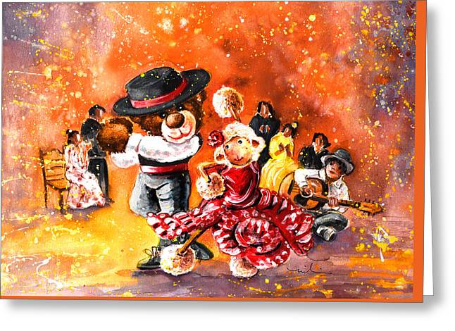 Truffle Mcfurry And Mary Performing Flamenco Greeting Card by Miki De Goodaboom