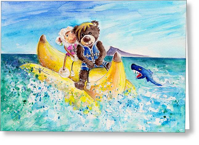 Baby Shark Greeting Cards - Truffle McFurry And Mary The Scottish Sheep Riding The Banana Greeting Card by Miki De Goodaboom