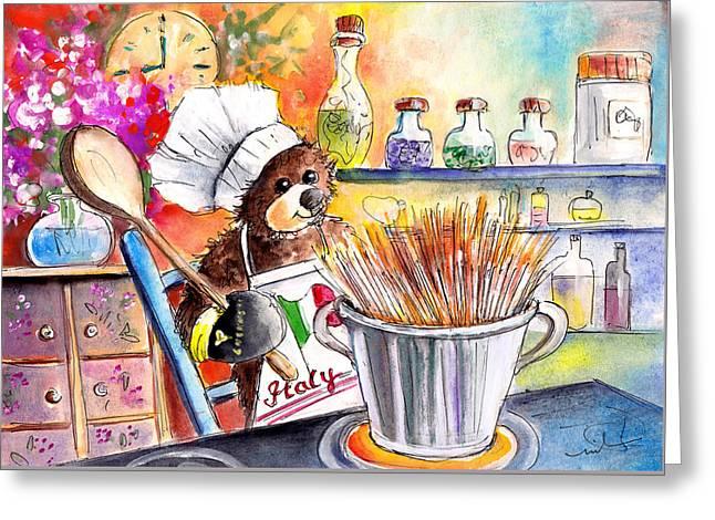 Spaghetti Greeting Cards - Truffle McFurry Cooking Spaghettis Greeting Card by Miki De Goodaboom