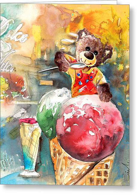 Truffle Mcfurry Eating Strawberry And Peppermint Ice Cream Greeting Card by Miki De Goodaboom
