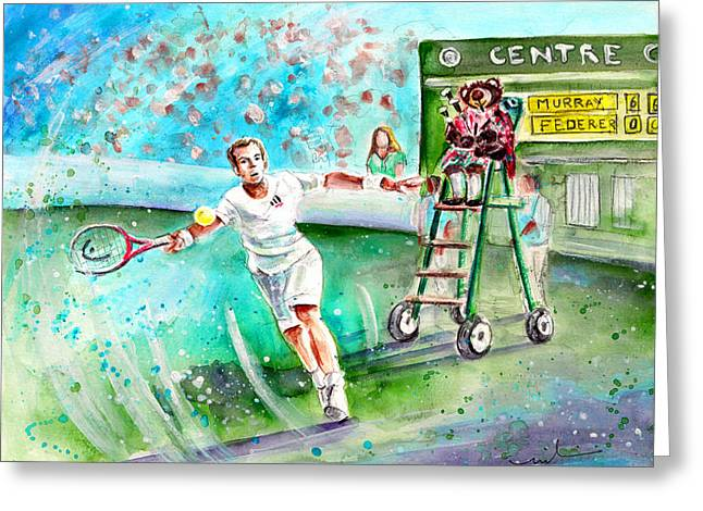 Wimbledon Drawings Greeting Cards - Truffle McFurry Playing the Bagpipes For Andy Murray At Wimbledon Greeting Card by Miki De Goodaboom