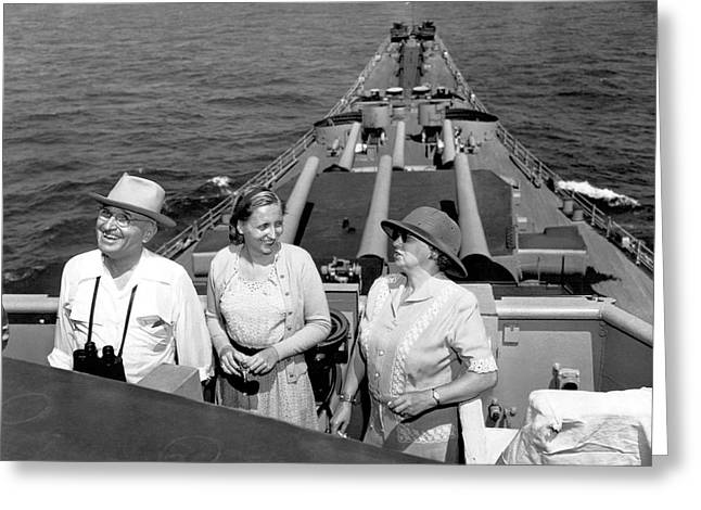 Bess Greeting Cards - Truman Family At Sea Greeting Card by Underwood Archives