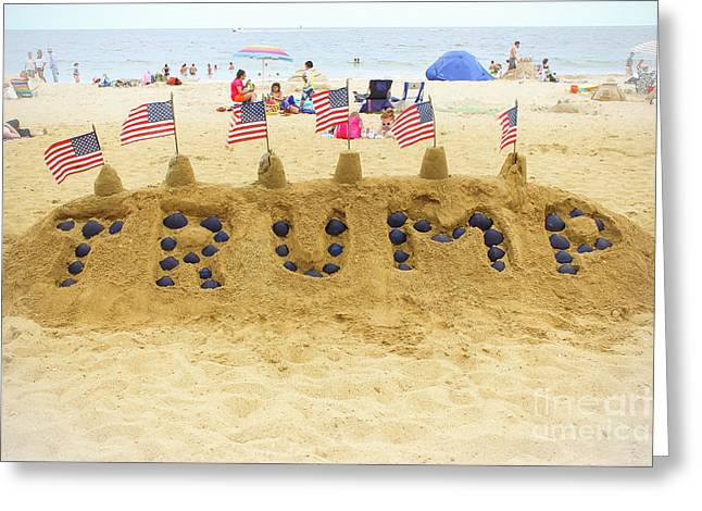 Trump - Sandcastle Greeting Card by Colleen Kammerer
