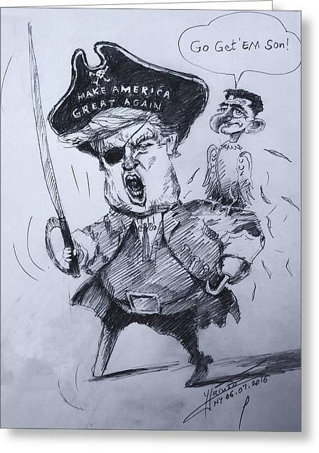 Trump, Short Fingers Pirate With Ryan, The Bird  Greeting Card by Ylli Haruni