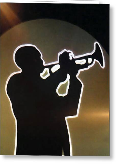 Silhouettes Greeting Cards - Trumpet - Classic Jazz Music All Night Long Greeting Card by Christine Till