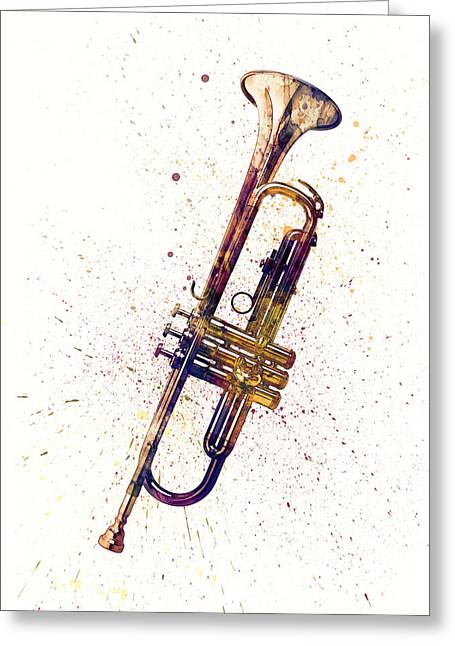 Trumpet Abstract Watercolor Greeting Card by Michael Tompsett