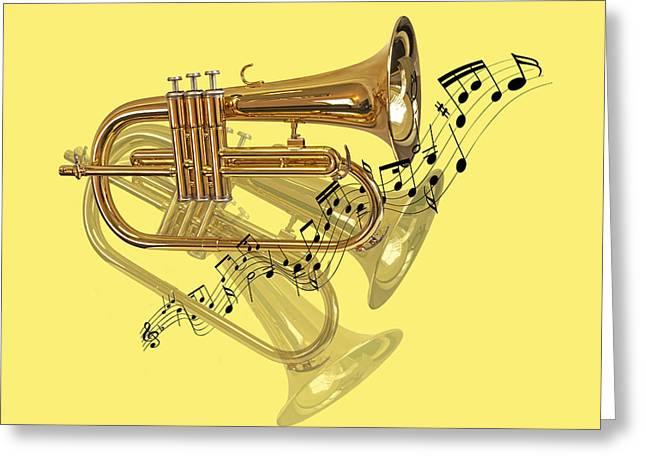 Musical Imagery Greeting Cards - Trumpet Fanfare Greeting Card by Gill Billington
