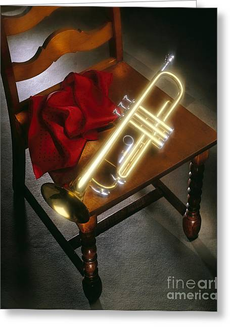 Trumpet Music Greeting Cards - Trumpet on chair Greeting Card by Tony Cordoza