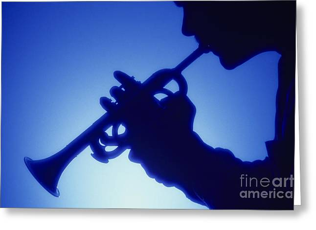 Trumpeter Silhouette Greeting Cards - Trumpet Player Greeting Card by Jim Corwin