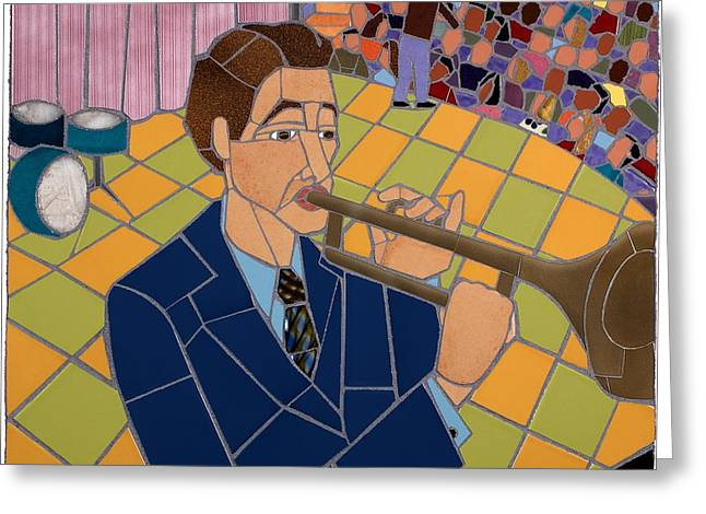 Interior Scene Mixed Media Greeting Cards - Trumpet Player Greeting Card by Jonathan Mandell