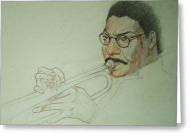 Player Drawings Greeting Cards - Trumpet Player Greeting Card by Nigel Wynter