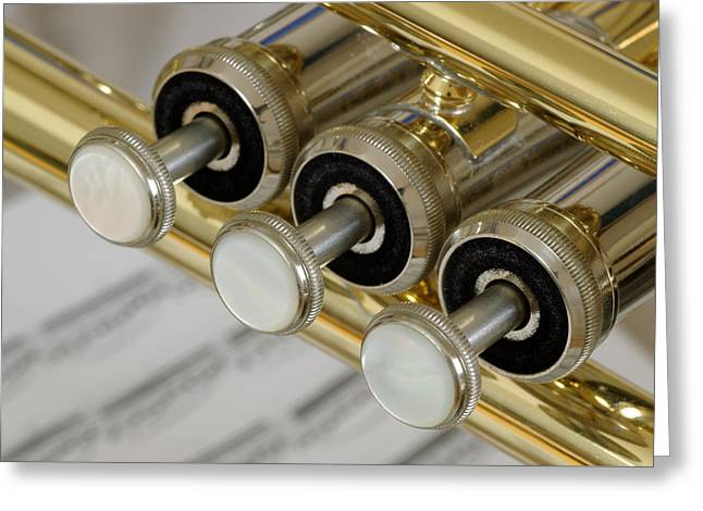 Trumpet Valves Greeting Card by Frank Tschakert