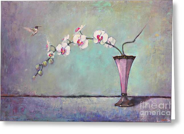 Phalaenopsis Orchid Greeting Cards - Trumpet Vase and Orchid  Greeting Card by Lori  McNee