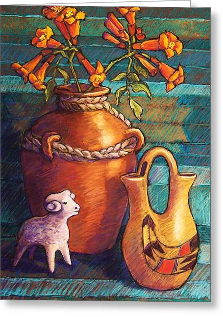 Southwest Pastels Greeting Cards - Trumpet Vines and Pottery Greeting Card by Candy Mayer