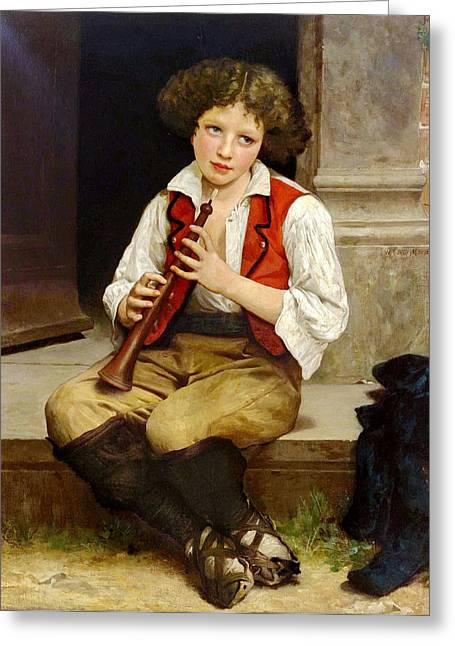 1874 Greeting Cards - Trumpeter  Greeting Card by Adolphe William Bouguereau