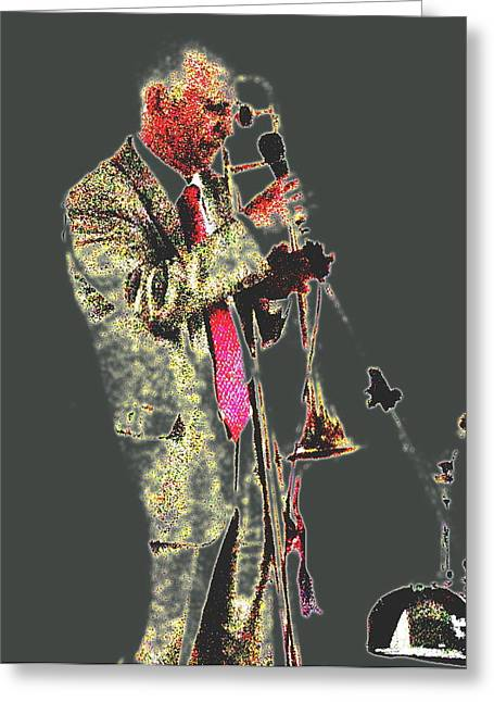 Celebrities Pyrography Greeting Cards - Trumpeter  Greeting Card by Yury Bashkin