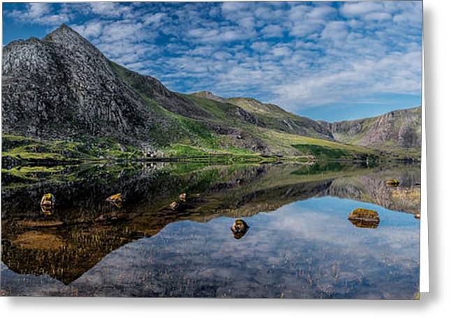 Pen Greeting Cards - Tryfan and Lake Ogwen Greeting Card by Adrian Evans