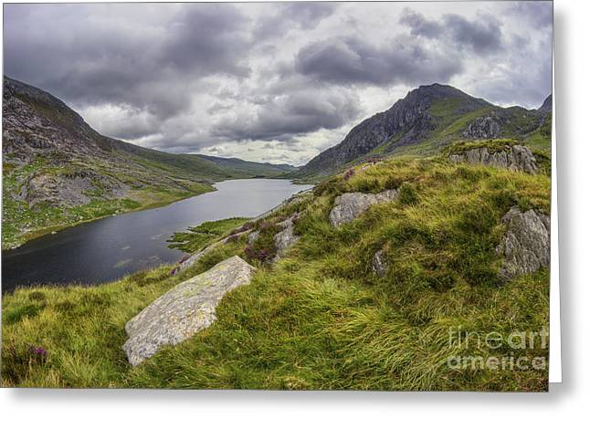 Peaceful Scene Greeting Cards - Tryfan and Lake Ogwen Greeting Card by Ian Mitchell