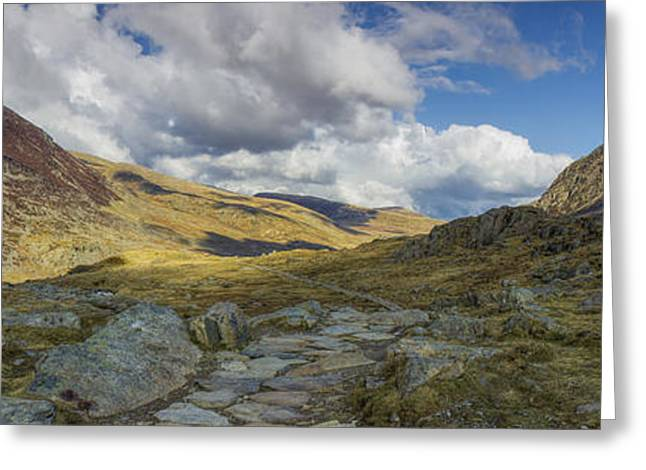 Rambling Greeting Cards - Tryfan and Pen yr Ole Wen Greeting Card by Ian Mitchell