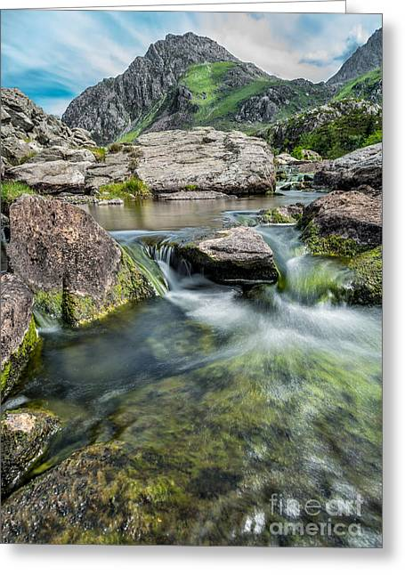 Cwm Idwal Greeting Cards - Tryfan In The Ogwen Valley Greeting Card by Adrian Evans