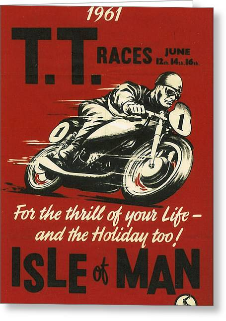 Isle Greeting Cards - TT Races 1961 Greeting Card by Nomad Art And  Design