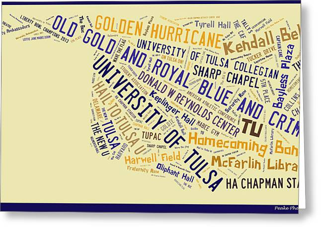 Oklahoma University Greeting Cards - TU Word Art University of Tulsa Greeting Card by Roberta Peake
