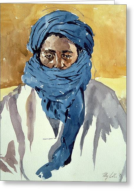 African-american Paintings Greeting Cards - Tuareg Tribesman Greeting Card by Tilly Willis