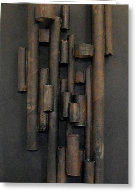 Cardboard Mixed Media Greeting Cards - Tube Greeting Card by Ralph Levesque