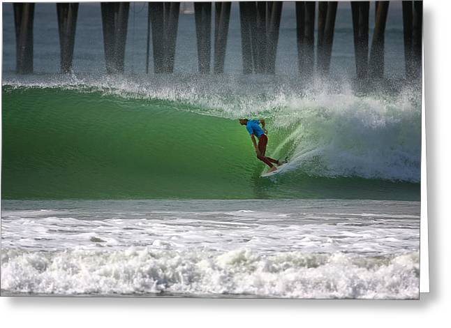 Surfer Greeting Cards - Tube Ride Greeting Card by Larry Marshall