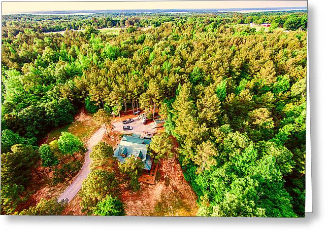 Cabin Interiors Digital Greeting Cards - Tucked Away - Aerial Wooded Landscape Greeting Card by Barry Jones