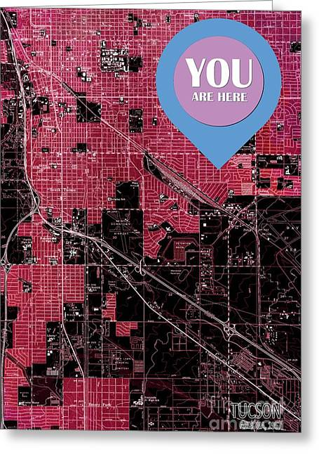 Tucson Arizona 1957 Red Old Map You Are Here Greeting Card by Pablo Franchi