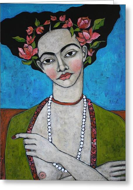 Acrylic Greeting Cards - Tuesdays Portrait Greeting Card by Jane Spakowsky