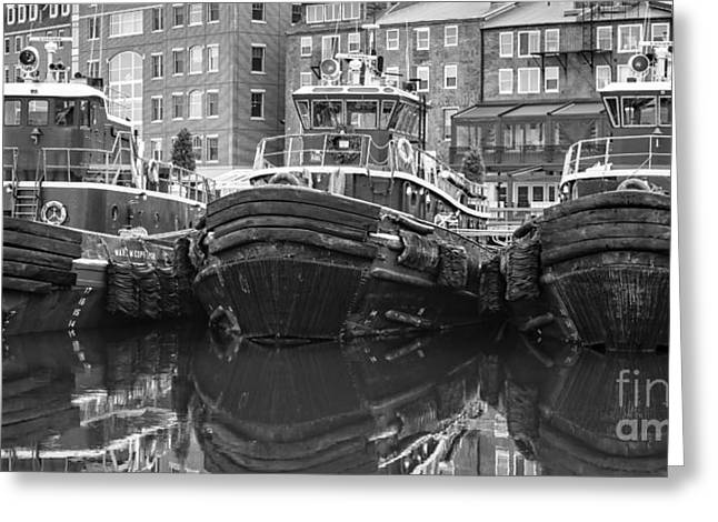 Tug Boat Alley Portsmouth New Hampshire Greeting Card by Edward Fielding