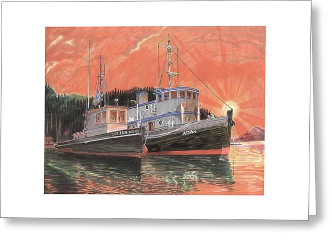 Boats In Harbor Greeting Cards - Tug Boats anchored in red sky Greeting Card by Jack Pumphrey