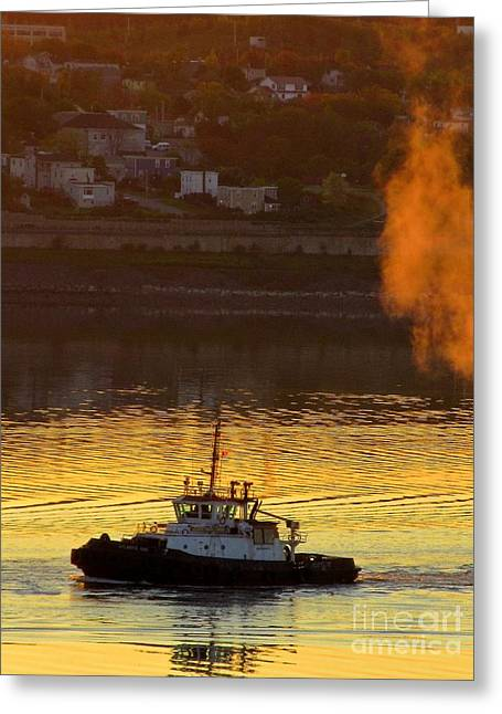 Boats In Water Greeting Cards - Tug in the Morning Quiet Greeting Card by John Malone