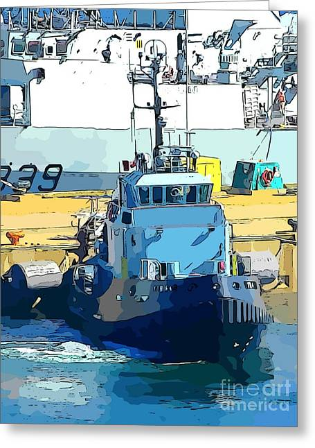 Boats In Harbor Digital Art Greeting Cards - Tug Greeting Card by John Malone