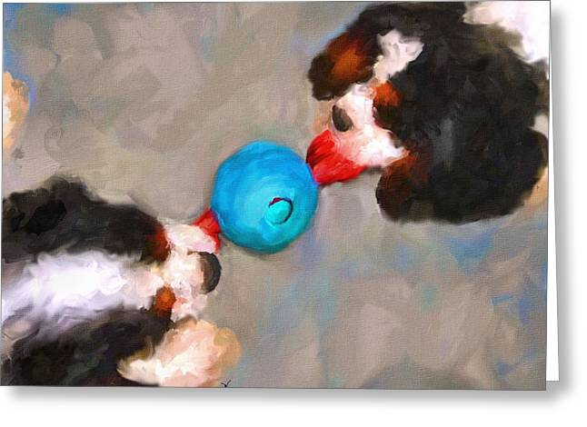 Cavaliers Paintings Greeting Cards - Tug of War Greeting Card by Jai Johnson