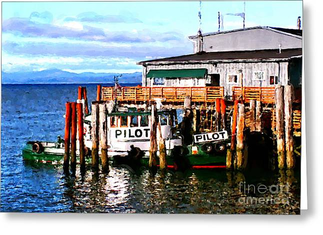 Boats At Dock Greeting Cards - Tugboat At Rest Greeting Card by Methune Hively