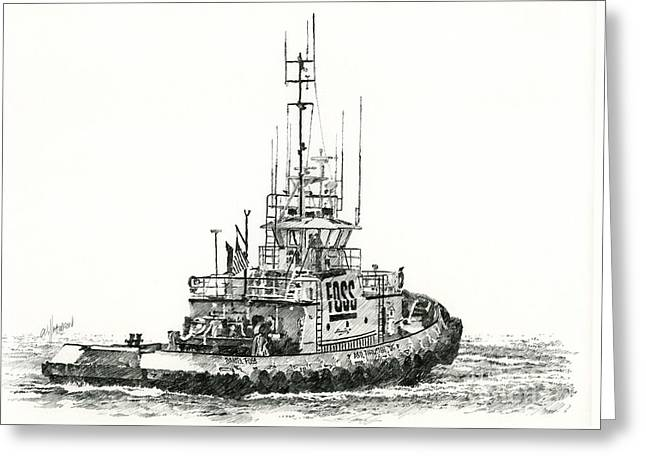 Tugboat Daniel Foss Greeting Card by James Williamson