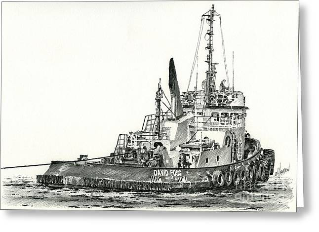 Artist Working Greeting Cards - Tugboat DAVID FOSS Greeting Card by James Williamson
