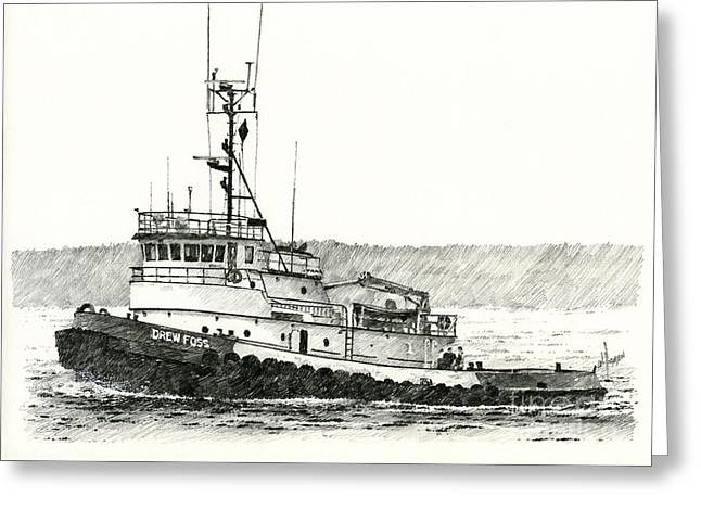 Tugboat Drew Foss Greeting Card by James Williamson