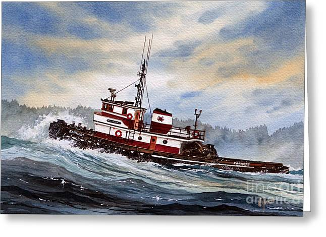 Tug Greeting Cards - Tugboat EARNEST Greeting Card by James Williamson