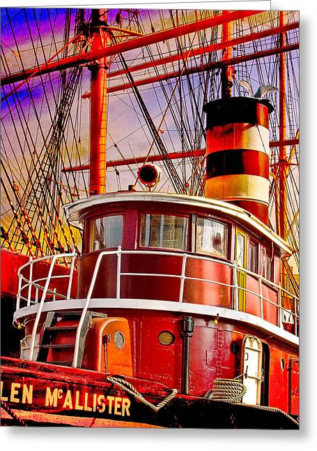 Street Greeting Cards - Tugboat Helen McAllister Greeting Card by Chris Lord