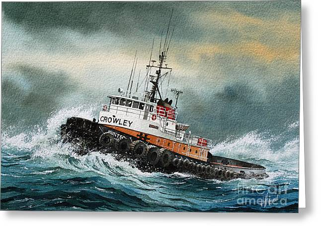 Artist James Williamson Maritime Print Greeting Cards - Tugboat HUNTER CROWLEY Greeting Card by James Williamson