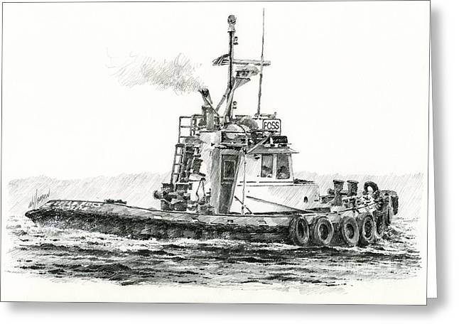 Tugboat Kelly Foss Greeting Card by James Williamson