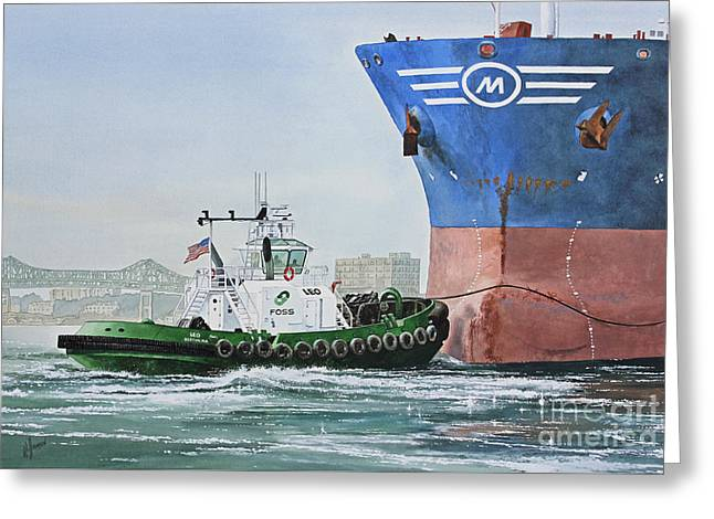 Maritime Print Greeting Cards - Tugboat LEO FOSS Greeting Card by James Williamson