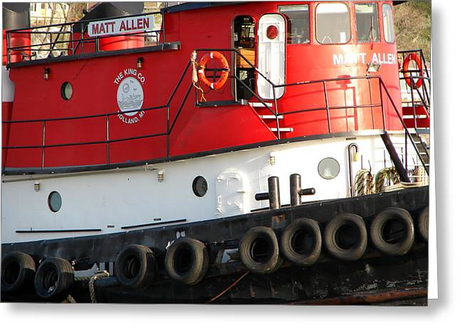 Porthole Greeting Cards - Tugboat Greeting Card by Michelle Calkins