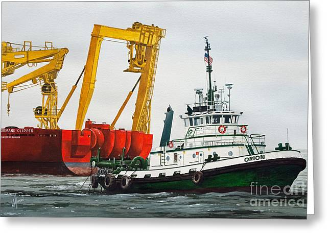 Nautical Greeting Card Greeting Cards - Tugboat ORION FOSS Greeting Card by James Williamson