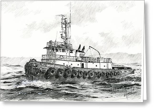 Tugboat Sandra Foss Greeting Card by James Williamson